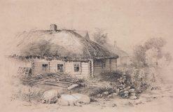 Landscape with a Cottage   Alexei Kondratyevich Savrasov   Oil Painting