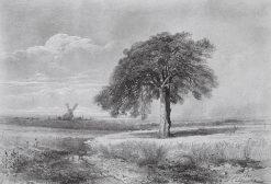 Landscape with a Windmill   Alexei Kondratyevich Savrasov   Oil Painting