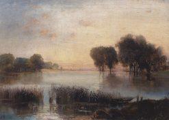 Landscape with a River   Alexei Kondratyevich Savrasov   Oil Painting