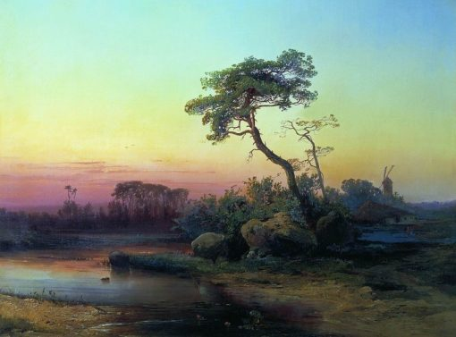 Landscape with a Pine Tree | Alexei Kondratyevich Savrasov | Oil Painting
