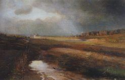 Landscape with a Church   Alexei Kondratyevich Savrasov   Oil Painting