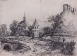 Landscape with a Church and Ruins   Alexei Kondratyevich Savrasov   Oil Painting