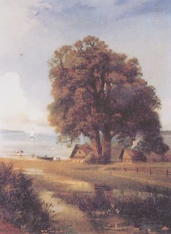 Landscape with Cottages by the Lake   Alexei Kondratyevich Savrasov   Oil Painting