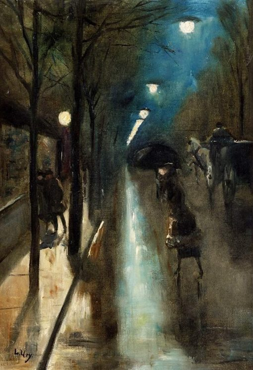 Evening street scene with figures