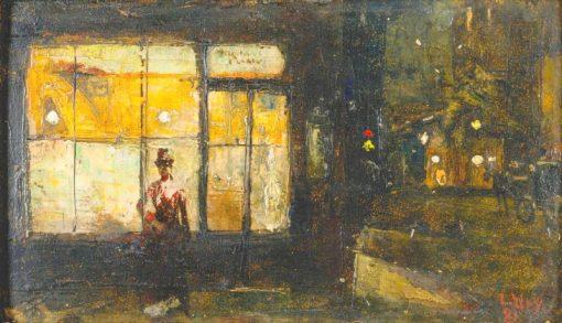 Parisian boulevard at night | Lesser Ury | Oil Painting