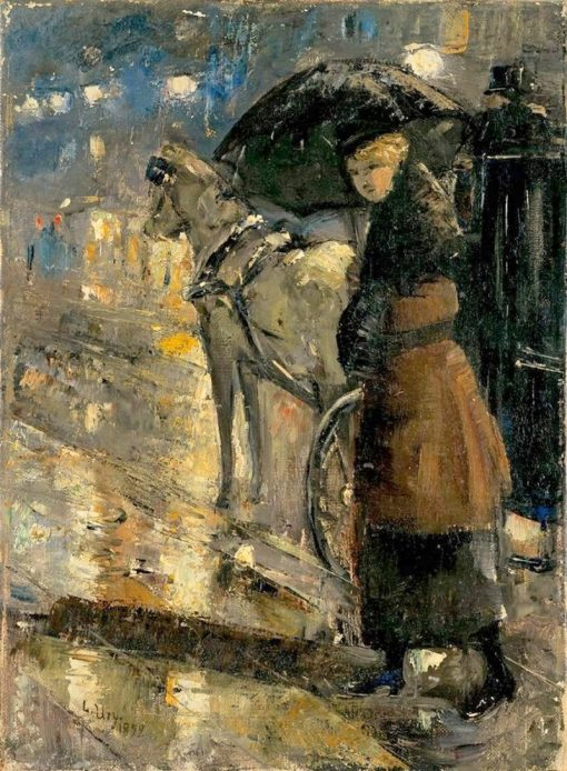 Woman and Cab | Lesser Ury | Oil Painting