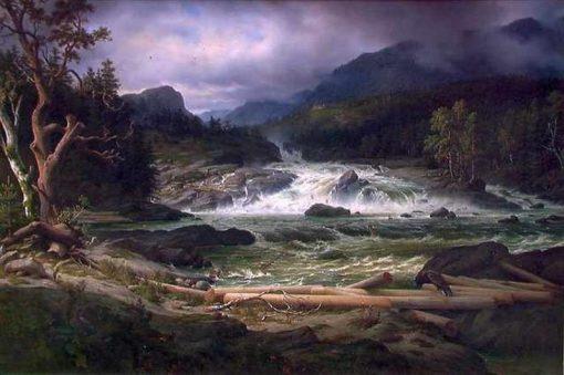 Labro waterfall at Kongsberg   Thomas Fearnley   Oil Painting