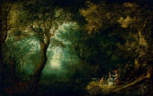 Park landscape with a company returning from the hunt | David Vinckboons | Oil Painting