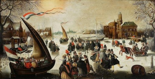 Landscape with frozen canal