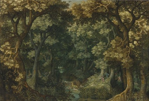 A wooded landscape with a stag hunt | David Vinckboons | Oil Painting