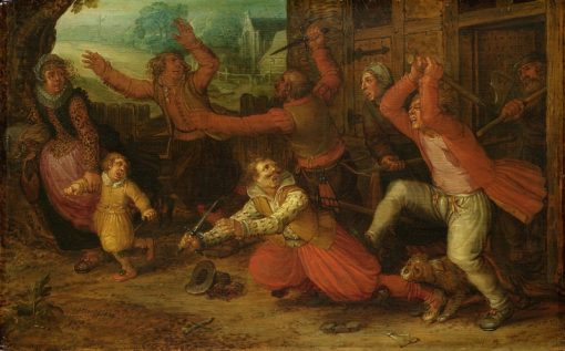 Peasants driving out a rich family from a house | David Vinckboons | Oil Painting