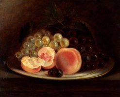 A Plate of Peaches and Grapes | John Charles Maggs | Oil Painting