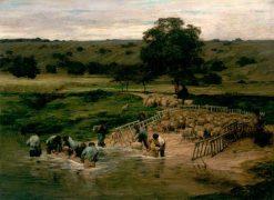 Le lavage des moutons | Leon Augustin Lhermitte | Oil Painting