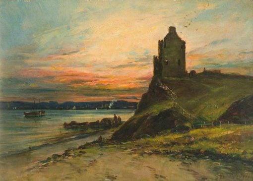Castle Ruins on a Cliff Edge   Samuel Bough   Oil Painting