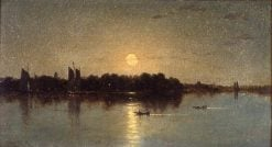 Moonlight Harbor Scene | Sanford Robinson Gifford | Oil Painting