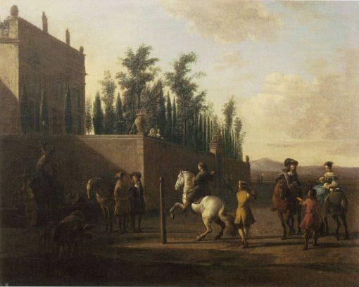 Riders Gathering in front of a Walled Estate | Gerrit Adriaensz.Berckheyde | Oil Painting