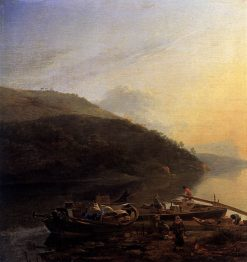 River Scene with Loaded Barges   Adam Pynacker   Oil Painting