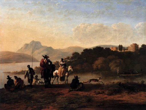 Italian Landscape with Riders and Fishermen | Carel Dujardin | Oil Painting