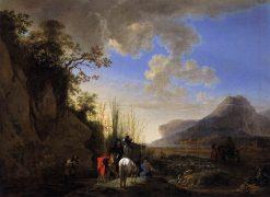 Coastal Scene with Riders Resting | Jan Asselijn | Oil Painting