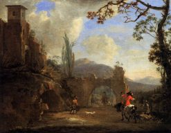 Landscape with Ruins and a Hunting Party | Jan Asselijn | Oil Painting