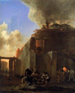 Beggars in Front of a Roman Lime Kiln | Jan Asselijn | Oil Painting