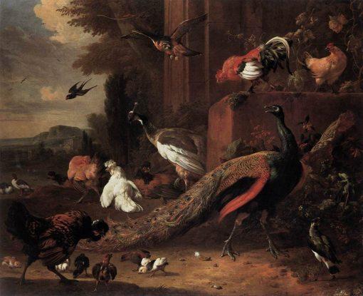 The Pair of Peacocks | Melchior d'Hondecoeter | Oil Painting