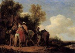 Party of Riders Resting beside an Inn   Pieter de Molijn   Oil Painting