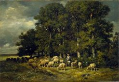 Sheep at the Entrance to a Forest | Charles Emile Jacque | Oil Painting