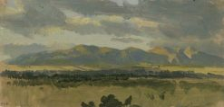 Wooded Plain with Mountains in the Background (Study) | Carl Blechen | Oil Painting