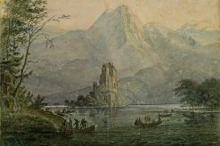 Burgsee with remote castle | Carl Blechen | Oil Painting