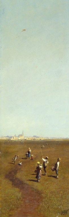 Kite Flying   Carl Spitzweg   Oil Painting