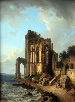 Church Ruins by the Sea   Domenico Quaglio the Younger   Oil Painting