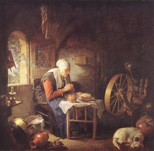A Spinner's Prayer | Gerrit Dou | Oil Painting