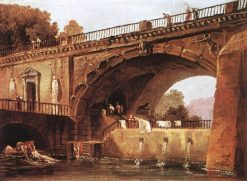 Washerwomen Below a Bridge | Hubert Robert | Oil Painting