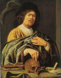 Self Portrait: Man with Skull | Jan Miense Molenaer | Oil Painting