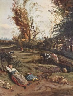 Meadow with Two Sleeping Female Shepherds | Jan Siberechts | Oil Painting