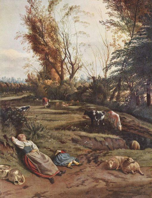 Meadow with Two Sleeping Female Shepherds   Jan Siberechts   Oil Painting