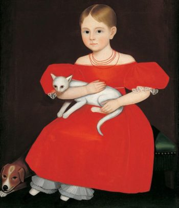 Girl in Red Dress with Cat and Dog | Ammi Phillips | Oil Painting