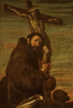 Saint Francis of Assisi Embracing a Crucifix | Bernardo Strozzi | Oil Painting