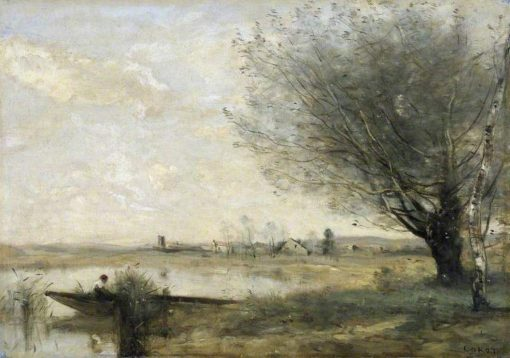 Fishermen Moored at a Bank | Jean Baptiste Camille Corot | Oil Painting
