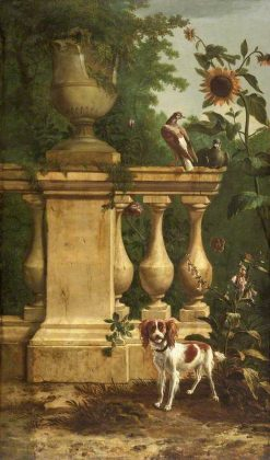 Pigeons and a Dog in a Garden | Melchior d'Hondecoeter | Oil Painting