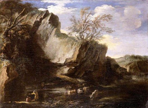 Rocky Landscape with Herdsmen and Cattle | Salvator Rosa | Oil Painting