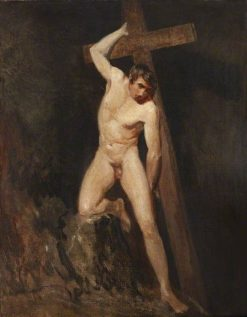 Academic Study of a Male Nude in the Same Pose as a Figure in Michelangelo's Last Judgement | John Constable | Oil Painting