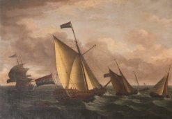 Dutch Ships in Choppy Seas | John Cleveley the Elder | Oil Painting