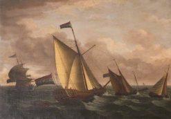 Dutch Ships in Choppy Seas | John Cleveley the Elder | Oil Painting