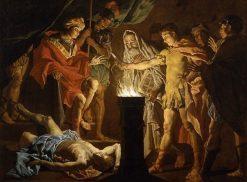 Mucius Scaevola in the Presence of Lars Porsenna   Matthias Stomer   Oil Painting