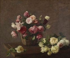 Roses in a Basket | Henri Fantin Latour | Oil Painting