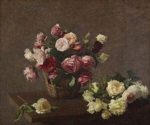 Roses in a Basket | Henri Fantin Latour | Oil Painting
