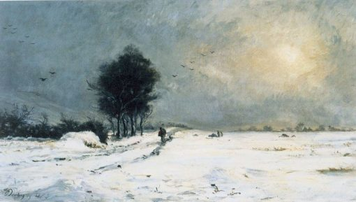 Snow Scene at Valmondois | Charles Francois Daubigny | Oil Painting