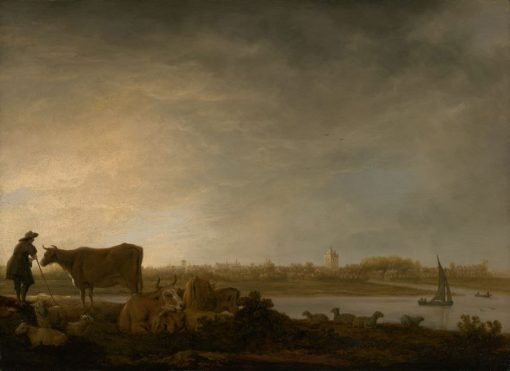 A View of Vianen with a Herdsman and Cattle by a River | Aelbert Cuyp | Oil Painting